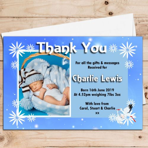 10 Personalised Baby Boy Birth Announcement Thank You PHOTO Cards N79